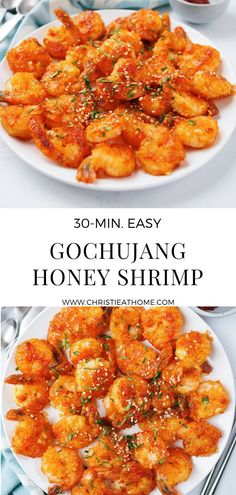Gochujang Honey Shrimp. A spicy honey sesame shrimp that is easy to make in under 30 minutes. A great side dish for dinner. These shrimps are lightly coated in cornstarch and seasoning first, then pan fried in some oil and coated with a thick honey gochujang sesame soy sauce. #shrimp #seafood #korean #koreanrecipe #spicy #dinner #lunch #sidedish