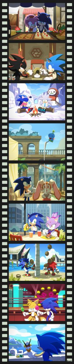 All the stuff Sonic was doing (in Sonic Unleashed, I think). I like the coconut one with Knuckles.