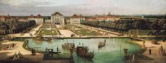 Schloss Nymphenburg von der Gartenseite, Gemälde von Bernardo Bellotto, genannt Canaletto, 1761.... castle nymphenburg picture from Bernardo Belotto