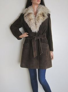 Vintage 1970s Brown Suede Belted Jacket - Large Shearling Collar available to buy online at Virtual Vintage Clothing