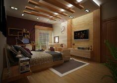 Eclairage led spots integrés et poutres en bois