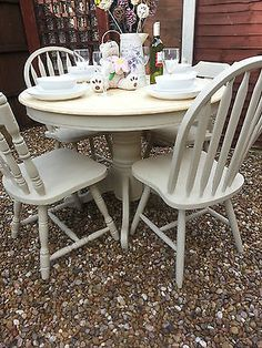 Round Shabby Chic Farmhouse Style Solid Beech Table and 4 Chairs - EXQUISITE! | eBay. Another exquisite set from Chic Boutique Furniture in Leicester.