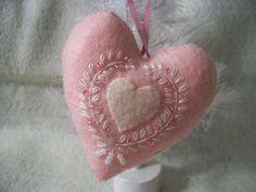 Pink Felt Valentine Heart Ornament by EdithMaesAttic on Etsy