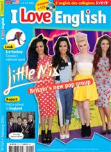 """Au sommaire de I Love English  n°215 - Février 2014  : - People :  The new girl group """"Little Mix"""" - Report : Visit Buckswood, a private boarding school in the south of England. - Look ! : Ice hockey, the official winter sport of Canada. - Success Story : The history of Monopoly ."""