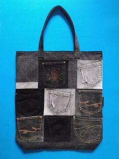 334f3a5512ee79 Patchwork gris noir denim sac cabas dété poche Shopper sac à #denimtotebag.  Totes