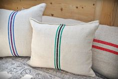 Vintage Authentic Grain Sack Pillow Cover / Handwoven hemp and cotton /Green and Black Stripes Bench Cushions, Sofa Pillows, Floor Pillows, Bolster Pillow, Pillow Shams, Pillow Covers, King Size Pillows, Grain Sack, Furniture Covers