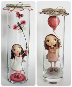 Bottle Girls, by Chloé Rémiat (papier mâché) Paper Mache Clay, Clay Art, Doll Crafts, Diy Doll, Clay Dolls, Art Dolls, Art Jouet, Paper Art, Paper Crafts