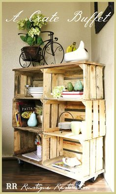 Rustique Restoration: DIY Crate Buffet Can use my wine crates to build this! Pallet Crates, Old Crates, Wooden Crates, Wine Crates, Pallets, Wooden Boxes, Furniture Projects, Home Projects, Diy Furniture