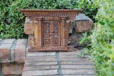 Wooden Carved Door With Side Peacock Nepali Wooden