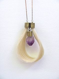 horse hair and amathist pendant - Lauren Passenti Jewelry