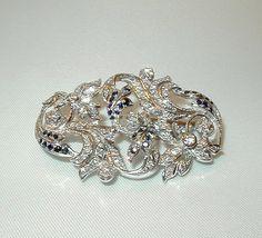 jóias de ouro branco-broche-diamantes e safiras