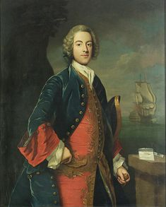 Portrait of a Naval Officer, circa 1740 - Possibly Captain Thomas Griffin, who was flag-captain to Vice-Admiral Cavendish in the 'Blenheim', 90 guns, at Portsmouth in 1735. Anon. 1730-40