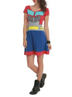 Roll out as an Autobot in this Optimus Prime costume dress!