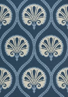 KIMBERLY, Blue and White, T85019, Collection Greenwood from Thibaut