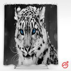 Cheap Leopard Snow Blue Eye Shower Curtain