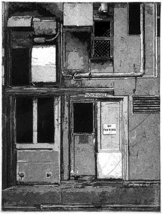 Tadich Grill, Worker's Entrance, 2012, Mike Kimball, etching, 9 x 6 in., San Francisco, California