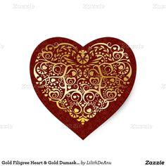 Gold Filigree Heart & Gold Damask on Red Sticker