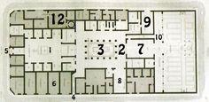 PIANTA DELLA CASA DI PANSA A POMPEI 1 Atrium, 2 Peristylium, 3 Giardino al centro del Peristylium, 4 Porta secondaria, 5 Ingresso principale, 6 Piccole stanze d'affitto, 7 Triclinium grande, 8 Triclinium, 9 Rimessa, 10 Portico, 11 Stanze affacciate sul Peristylium, 12 Bottega di fornaio. #ROMA   #art   #history   #architettura   #STORIA   #VolteaBotte   #Basilica   #Massenzio   #fororomano   #Colosseo   #anfiteatro   #Flavio   #Pantheon   #lacunari   #anfitrite   #nettuno   #case   #domus…