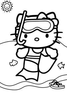 Hello Kitty Goes Swimming Coloring Page
