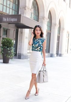 business casual white pencil skirt outfit by extra petite blog