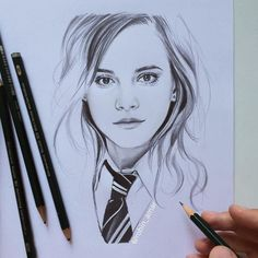 of Hermione Granger AKA Emma Watson by Robin Amar from Harry Potter Sketch, Arte Do Harry Potter, Harry Potter Artwork, Harry Potter Drawings, Harry Potter Anime, Girl Drawing Sketches, Portrait Sketches, Pencil Art Drawings, Pencil Portrait