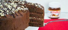 vier lagen chocolade-Nutella-taart