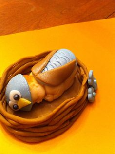 Edible fondant Owl baby in nest cake topper by McGoonieToppers, $15.00