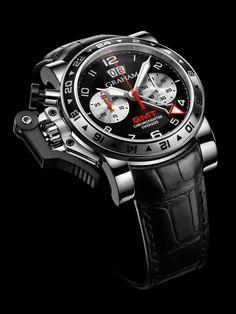 Graham Chronofighter Oversize GMT Black Steel - stopwatch