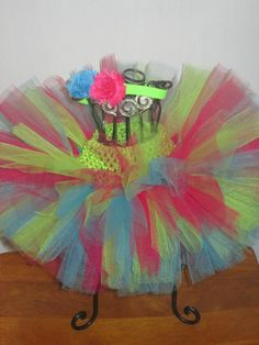 Lime Green Turquoise and Fuchsia Tutu with Mini by mamamadebows, $20.00+
