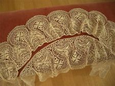SUPERB WIDE 158in HANDMADE Antique Vtg BLONDE SILK MALTESE BOBBIN LACE FLOUNCE