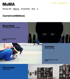 New branding system designed by New York-based Order for MoMA in Opinion by Richard Baird. Web Design, Modern Logo Design, Graphic Design, Betye Saar, Brand Assets, Catalog Cover, Singles Events, Brand Style Guide, Design System