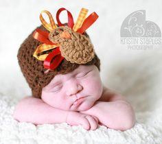crochet turkey hat   Crochet Turkey Hat Thanksgiving Beanie with Ribbon Feathers - Brown ...