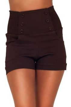 High Waisted Sophisticated Trendy Chic Front Button Vintage Inspired Shorts at Amazon Women's Clothing store