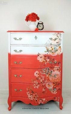 Dresser Furniture, Decoupage Furniture, Furniture Update, Funky Furniture, Refurbished Furniture, Colorful Furniture, Art Furniture, Dressers, Furniture Projects