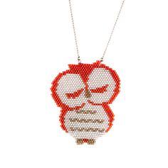 Beaded Owl Necklace, Owl Miyuki Necklace,Miyuki Necklace, Brickstitch Beadwork…