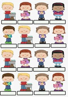 Kids name tags Classroom Calendar, Classroom Labels, Classroom Jobs, Clipart, Nametags For Kids, School Labels, Name Tags, First Day Of School, Kid Names