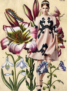 Look of the Day Dolce&Gabbana Spring Summer 2014 Womenswear Lace Application Pink Silk Dress - Fashion and Style Floral Fashion, Fashion Art, Editorial Fashion, Spring Fashion, High Fashion, Fashion Design, Botanical Fashion, Ellie Saab, Illustration Botanique