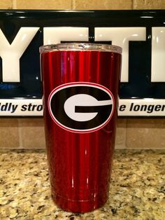 Custom  YETI Rambler Tumbler  Candy Red UGA Georgia Bulldogs Logo - Powder…