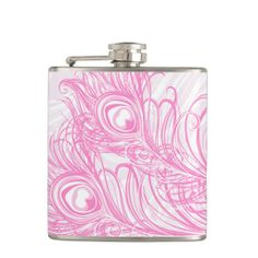 Pink Peacock flask, girly, pink, sweet, bridal, bride, bridesmaid gifts, gift, peacock feathers