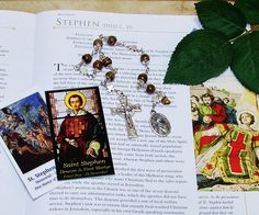 Unbreakable Catholic Chaplet of St. Stephen, Deacon, First Martyr - Patron of Coffin Makers, Deacons, Stone Masons and Against Headaches by foodforthesoul on Etsy