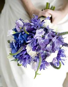 Blue Green and purple Wedding Flowers | These purple and blue flowers look great together - so fun! You don't ...