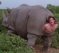 Imagen perturbadora de la infancia Rhino birthing Jim Carrey actor in Ace Ventura: When Nature Calls Movie (1995) Director Steve Oedekerk
