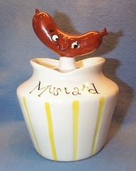 Mustard pot with Hot Dog handle.