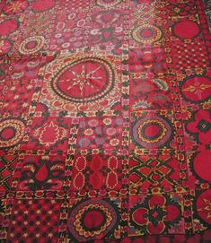 In the 19th century, women from Uzbekistan embroidered fabulous hangings to separate the sleeping alcove or to decorate the yurt, bed and table covers, wrapping cloths and even prayer mats. Shown at musicfortheeyes.com in Langley, WA on Whidbey Island