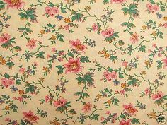 Vintage French Floral Fabric Material Cotton Yellow Ground Material | eBay