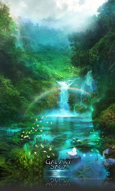 Artist: Atents - Title: 05galaxy2 - Card: Unknown Legends And Myths, Landscape Concept, Digital Backgrounds, Game Art, Saga, Amazing Art, Serenity, Fantasy Art, Waterfall