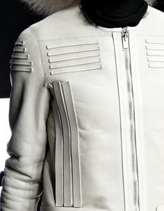 White jacket with leather applique strips; sewing idea; close up fashion detail // Rick Owens Fall 2013