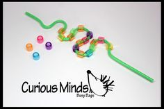 This is a simple but fun little toddler fine motor busy bag learning toy. You get one plastic bendy straw and an assortment of large-hole beads. Kids simply practice their fine motor skills by lacing