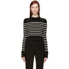 Isabel Marant Black and Beige Striped Hartfield Sweater (€705) ❤ liked on Polyvore featuring tops, sweaters, black crew neck sweater, stripe sweater, crew-neck sweaters, beige sweater and black sweater