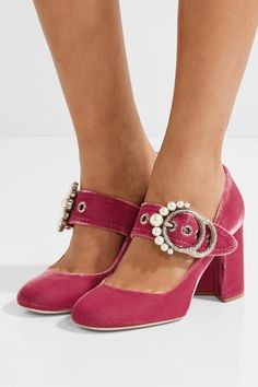 Miu Miu   Embellished velvet Mary Jane pumps   NET-A-PORTER.COM